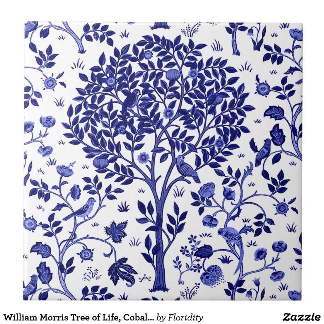 William Morris Tree Of Life Cobalt Blue And White Ceramic Tile Zazzle Com Blue And White Wallpaper White Ceramic Tiles Blue And White Fabric