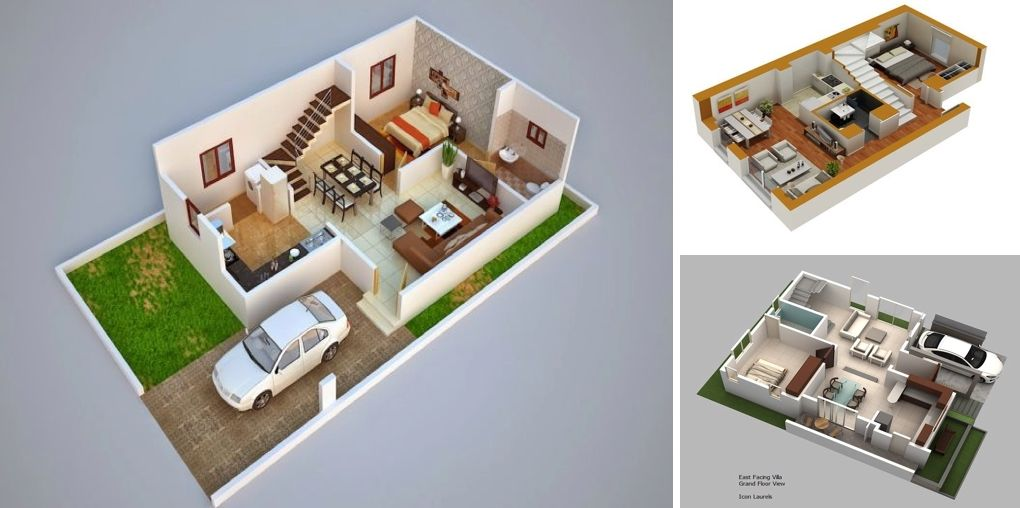 3D Duplex House Plans - MyhomeMyzone Plans de maison