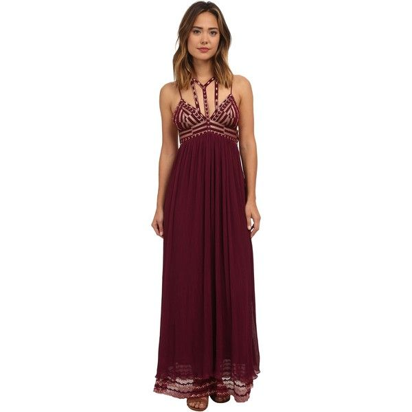 Free People Sacred Geometry Maxi Dress Women's Dress, Red ($280) ❤ liked on Polyvore featuring dresses, red, red v neck dress, embroidered maxi dress, pleated maxi dress, v neck dress and embroidered dress