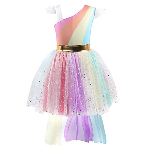 97904d5a Girls Unicorn Dress up Costume Rainbow Sequins Tulle Ruffle Skirt Birthday Dresses  Tutu Outfit Kids Princess Dressing Gown for Halloween Fancy Party Pageant  ...