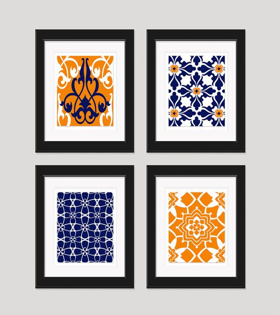 Navy Blue Orange Art Prints Vintage / Modern By