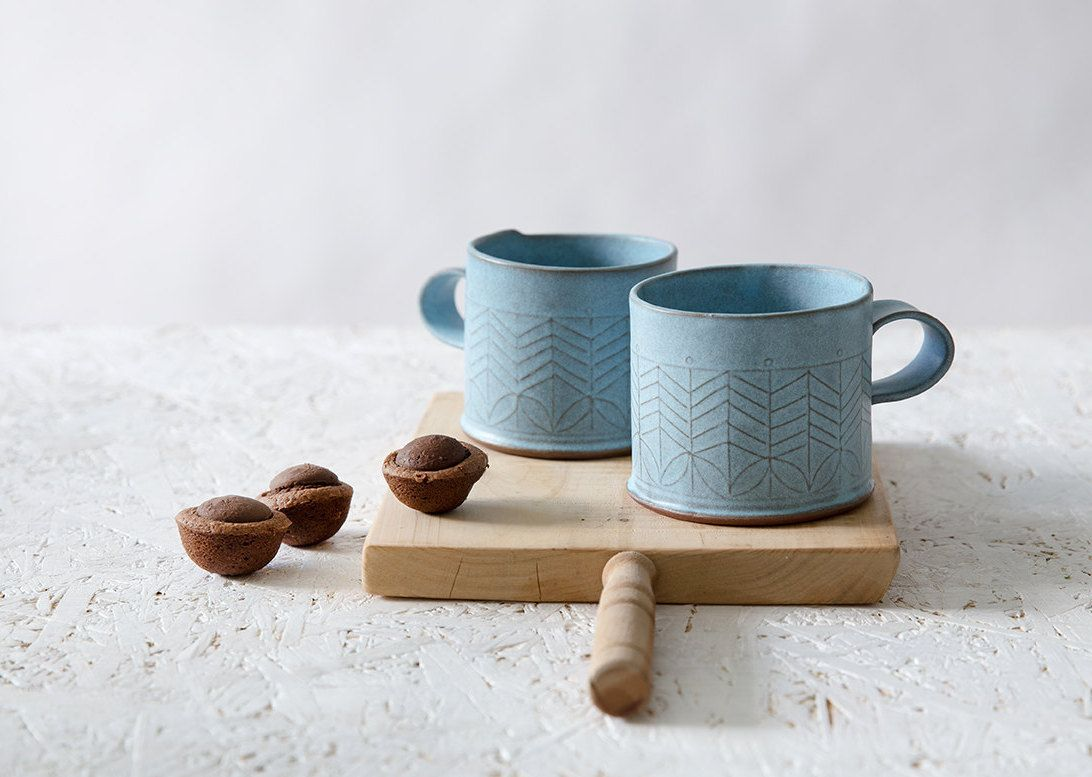 Blue Ceramic Mug Light Blue Coffee Cup Modern Tea Cup Geometric