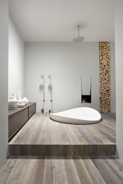 Modern Bathroom Sunken Tub Wood Flooring Minimalist Bathroom