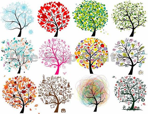 Trees colorful. Instant download tree clipart