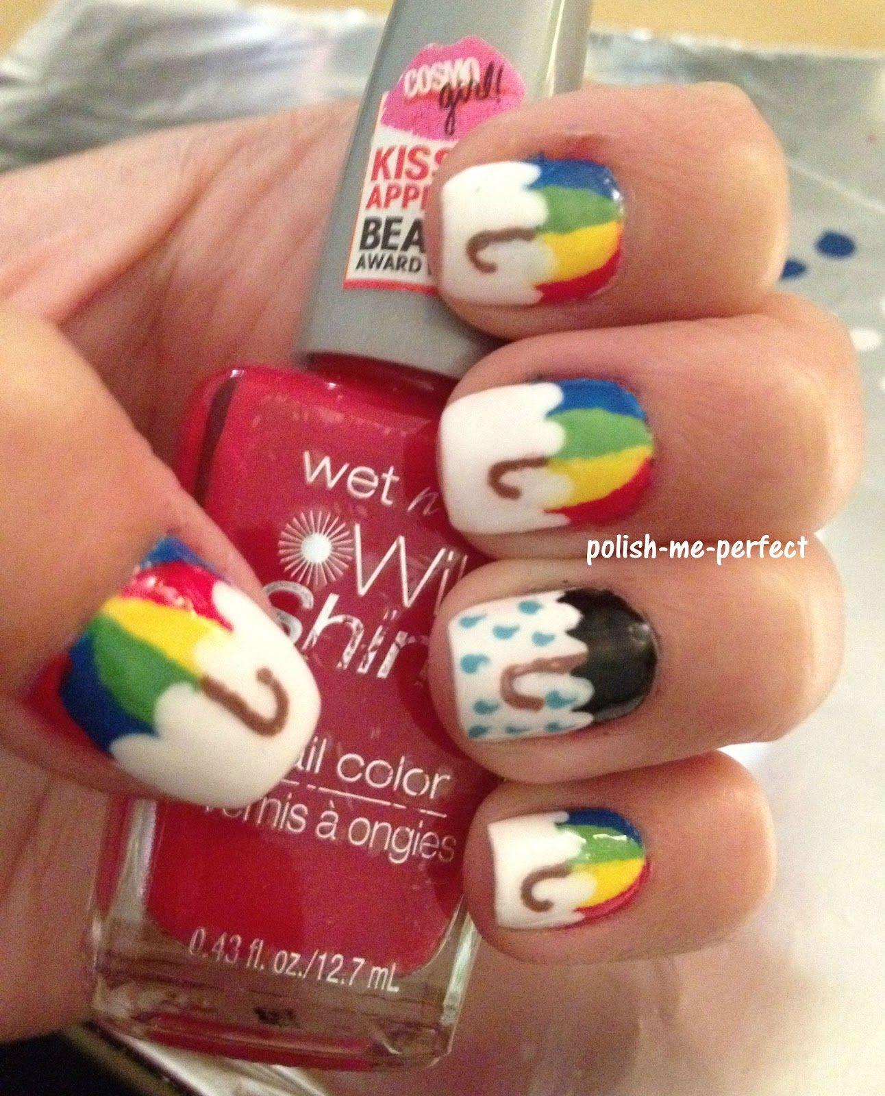 Umbrella nail art Maybe the other way around | Nailed it ...