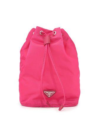 Bright pink Vela drawstring pouch Prada PyVdDyH