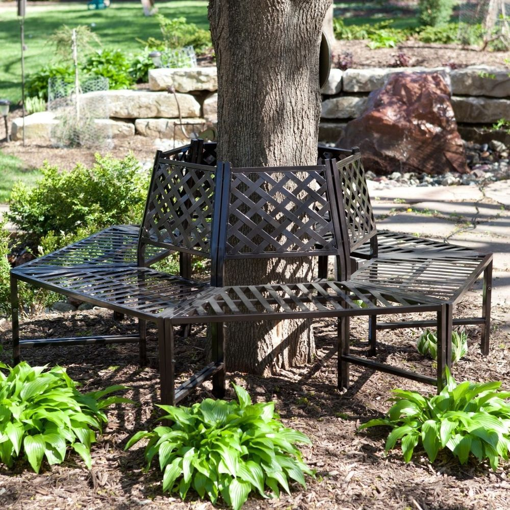 Wrought Iron Tree Bench Surround Outdoor Furniture Decor Home