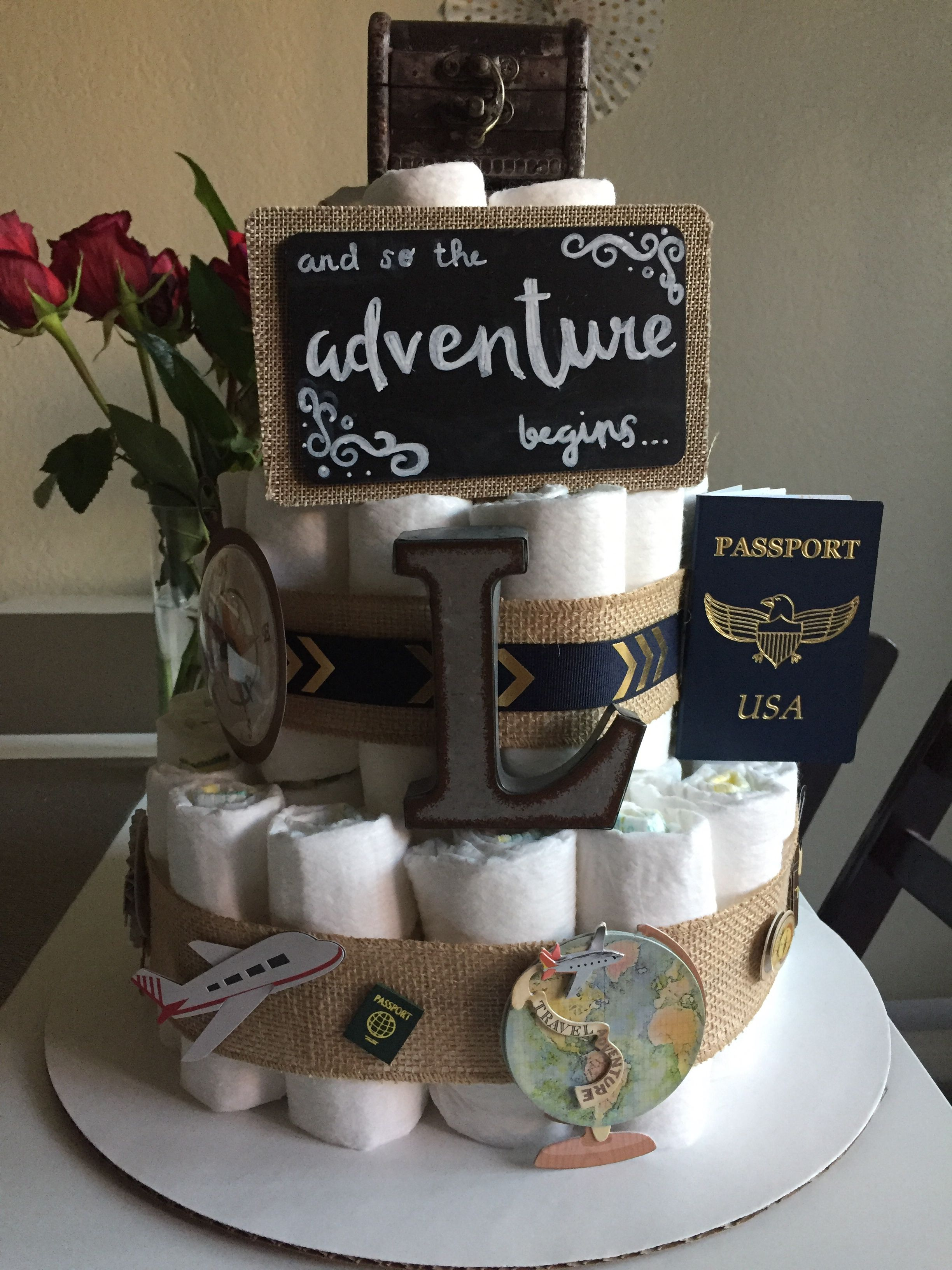 Travel Theme Baby Diaper Cake Diaper Cakes In 2019