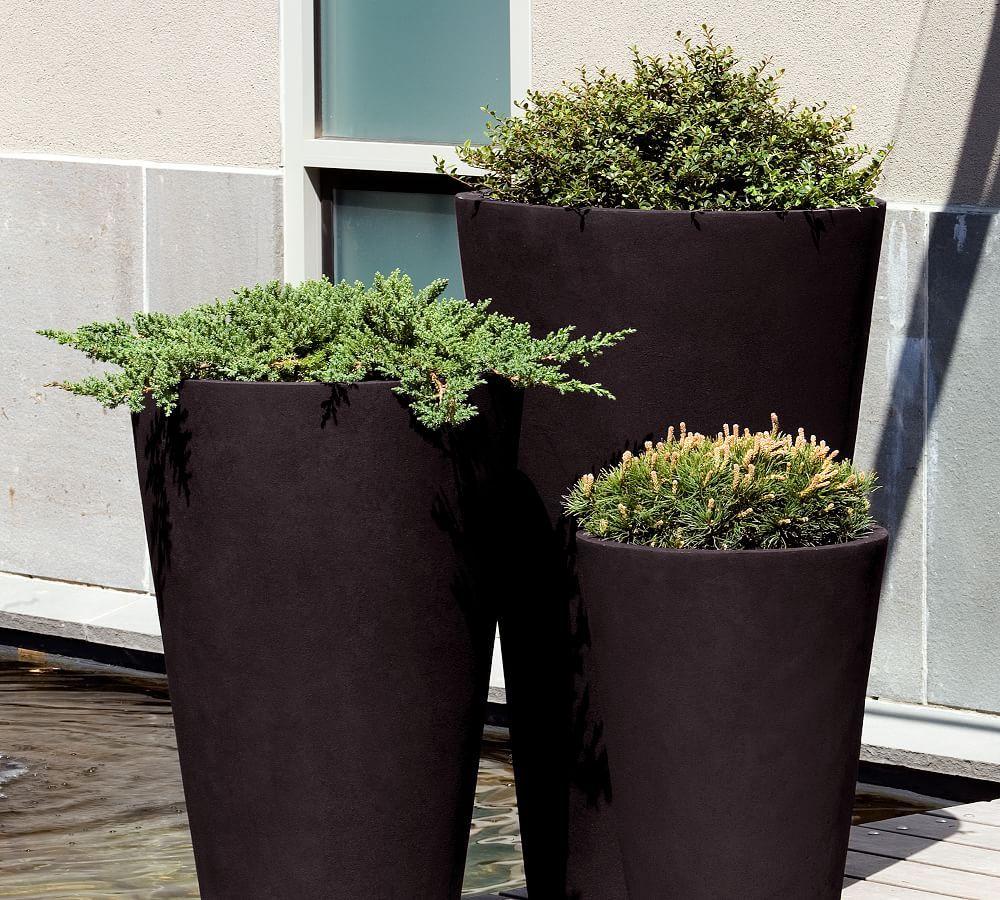 Uma Planter Large Onyx Black Planters Tall Planters