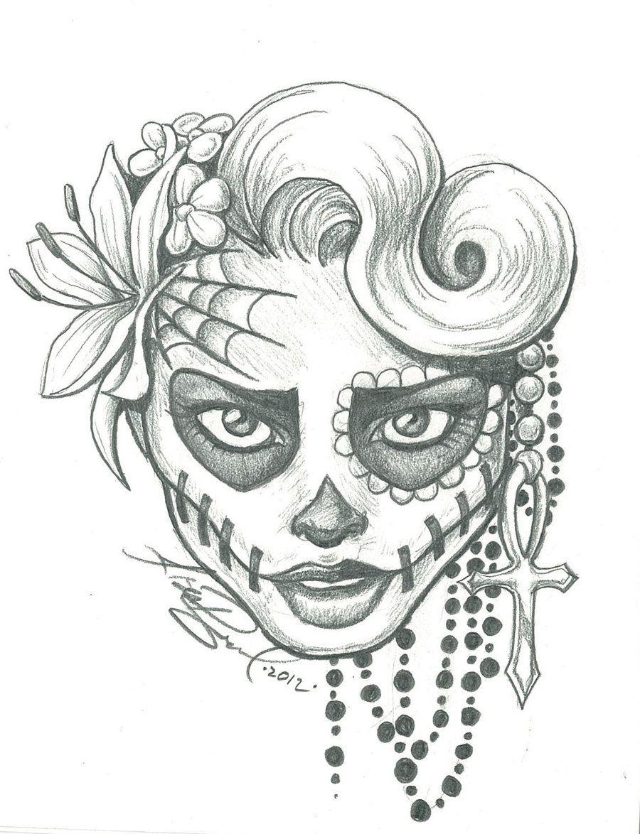 Skull art sugar skull two by leelab traditional art drawings macabre horror took