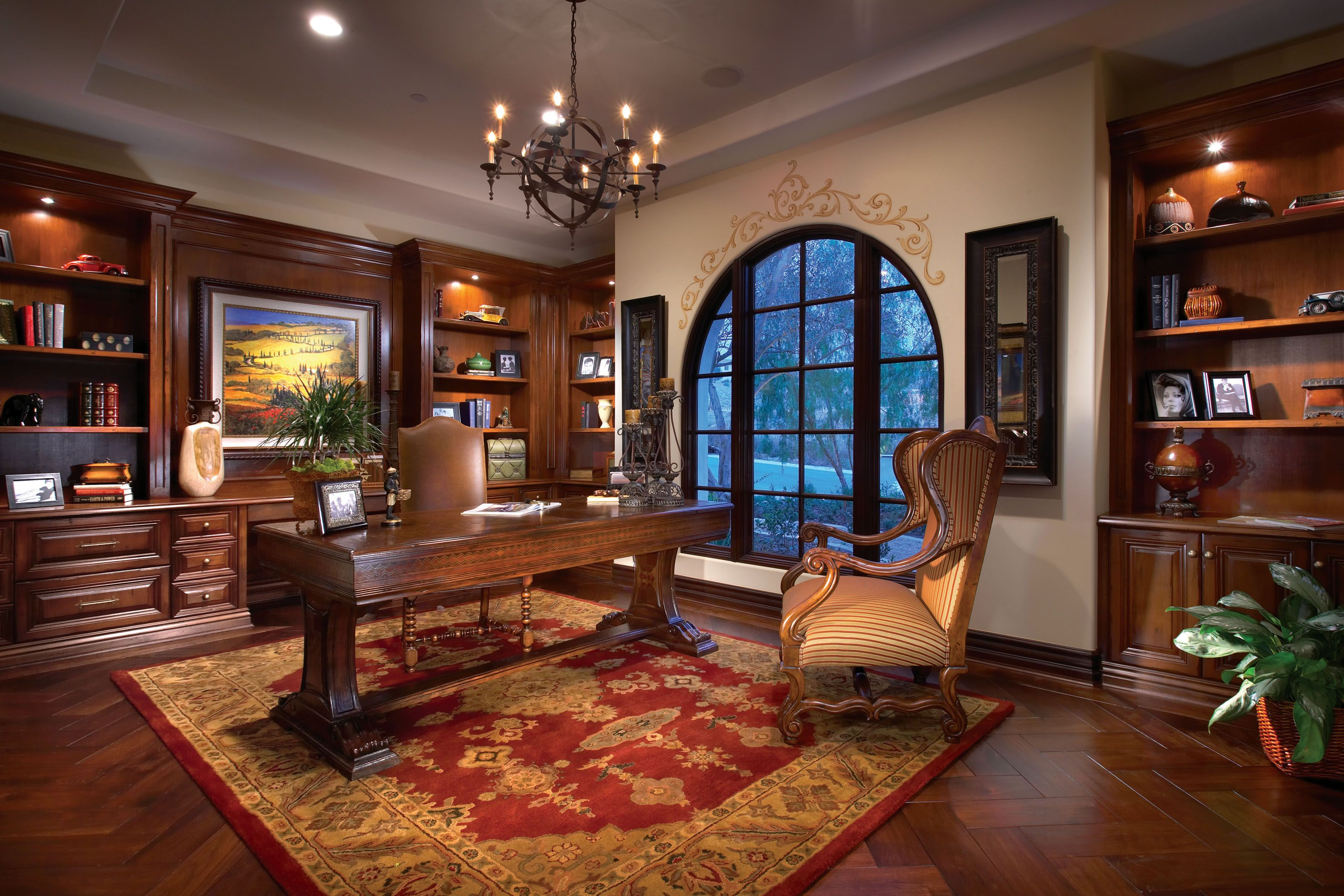 Home Office Santa Barbara Style Custom Home Sits On An Approximate 28 000 Sf Lot Residence Boasts 6 000 Sf Of Living Space Home House Interior Living Spaces