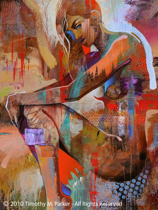 """Figure Art Painting - Artist Tim Parker """"Eye for Color"""" Abstract Figurative Artwork Print"""