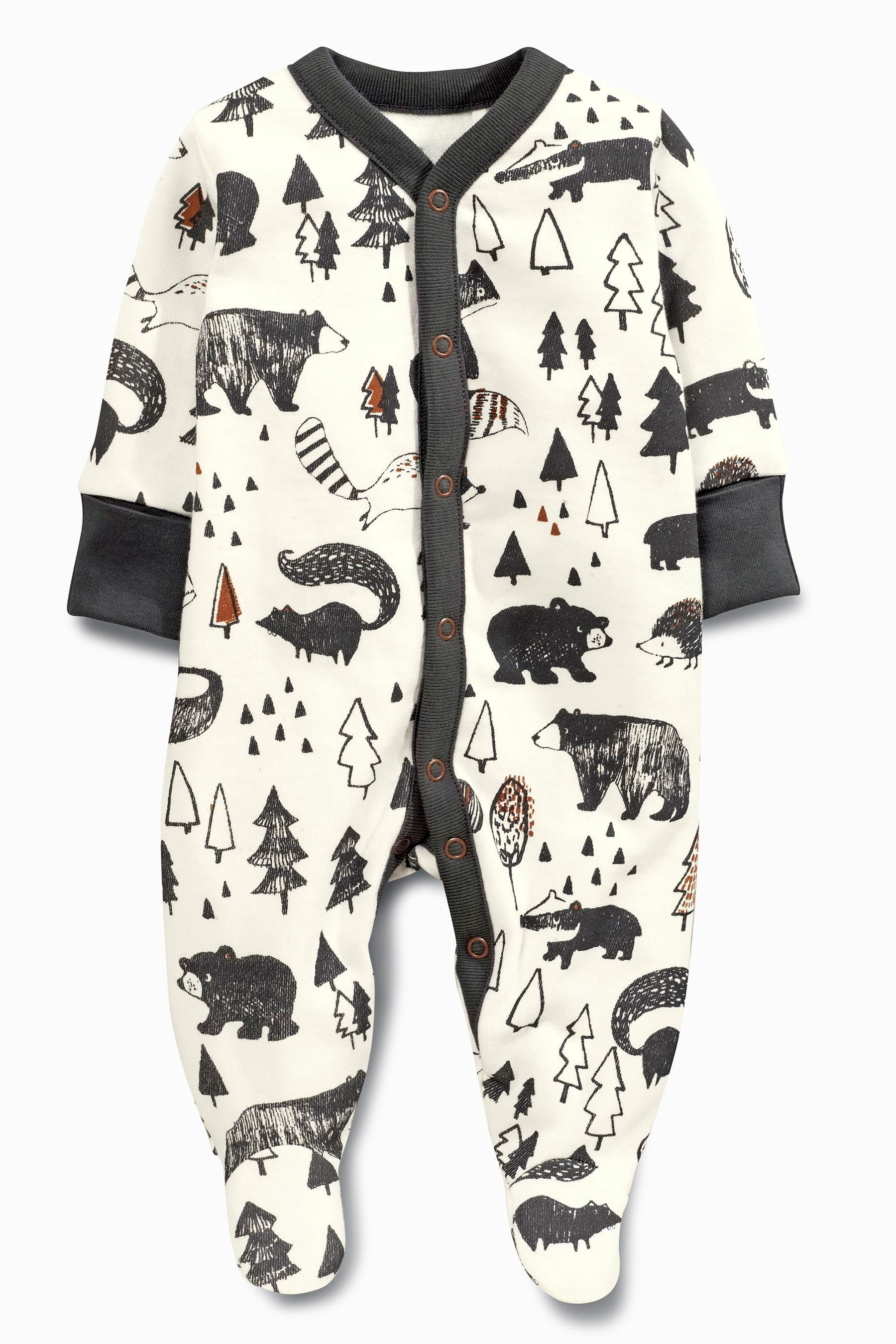 80fadb61793f Buy Grey Alpine Fox Sleepsuits Two Pack (0mths-2yrs) from the Next ...
