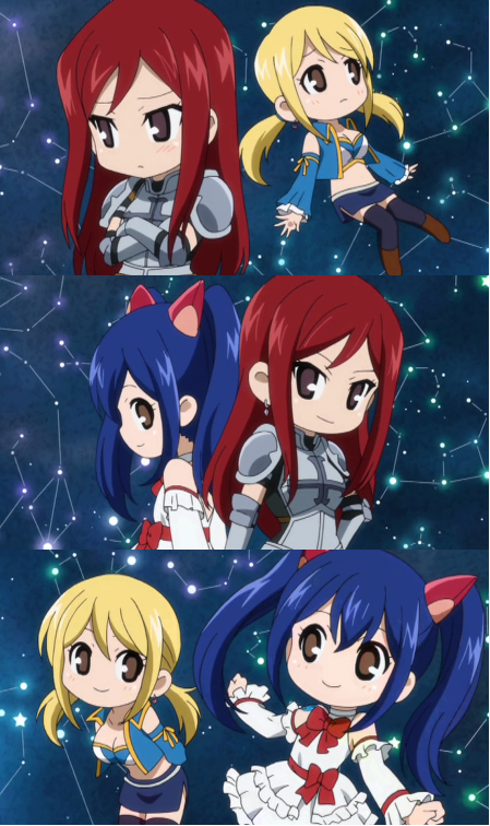 Erza, Wendy, and Lucy! Kawaii! Chibi!