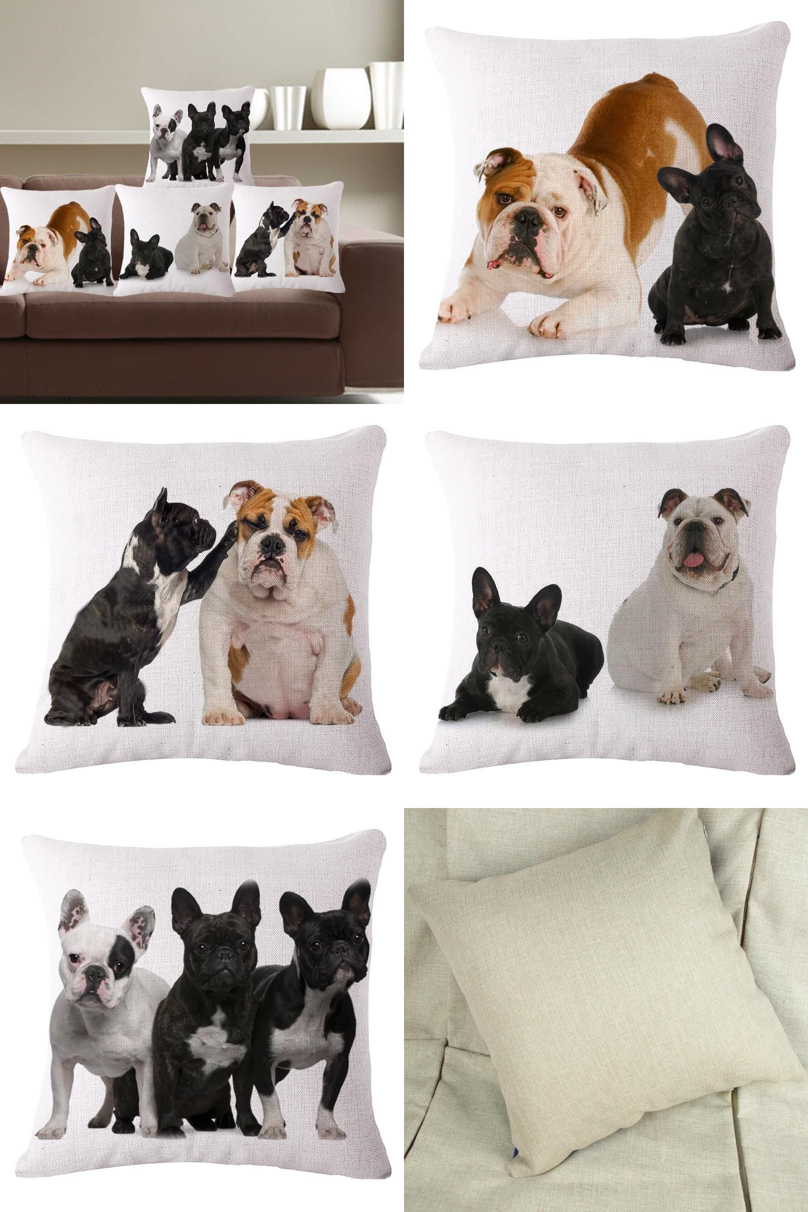 Visit to Buy] Pillow Case Laughing Dog Cotton Linen Cushion Cover