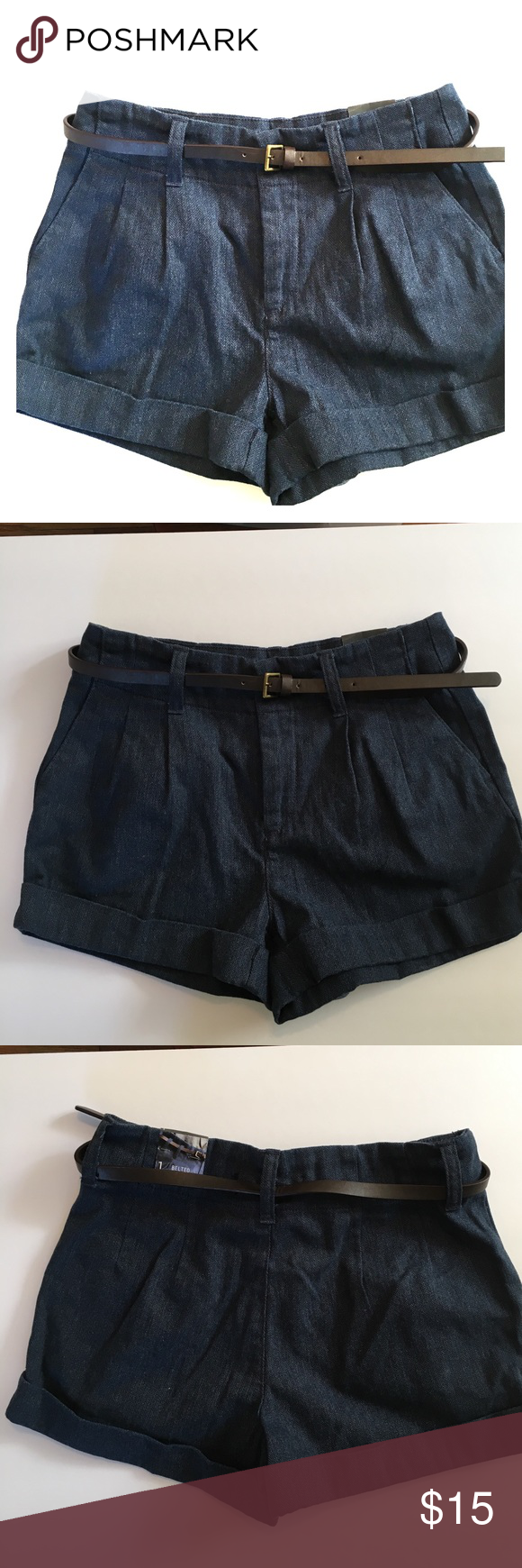 NWT Bullhead Black High Waisted Dark Blue Shorts New with tag, Bullhead Black high waisted shorts are in a dark blue tweed-like fabric. The shorts are cuffed & come with a brown belt. Size 1. Fabric is 74% cotton & 26% polyester. Bullhead Shorts