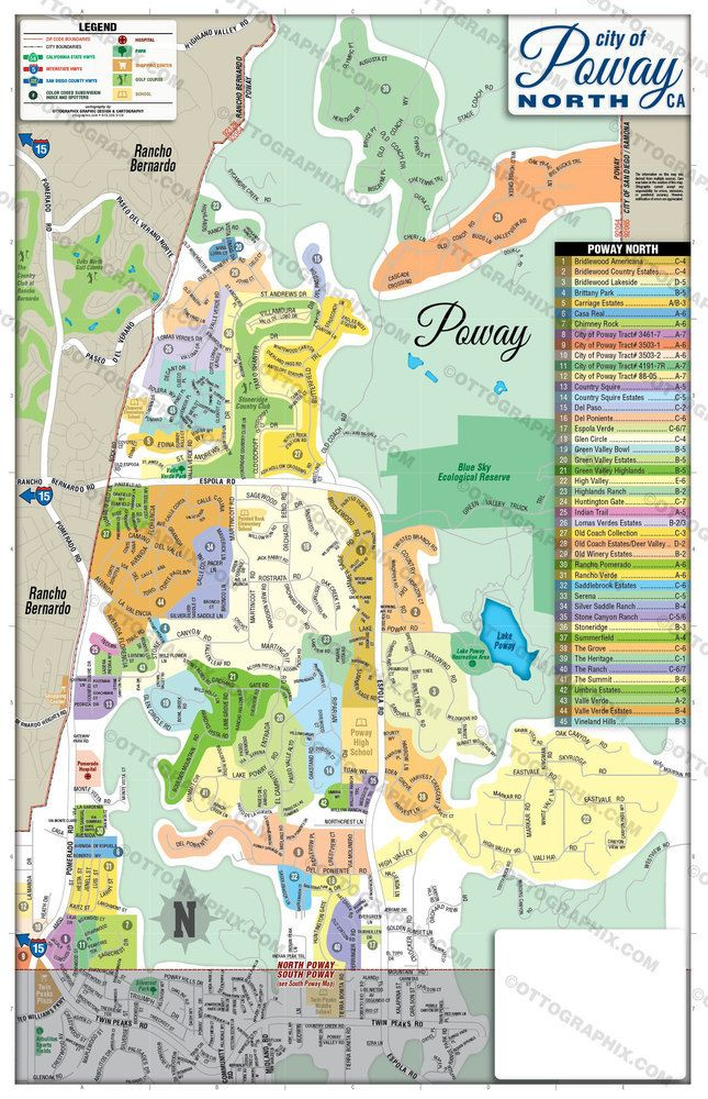 Poway California Map.Poway Map North With Subdivisions San Diego California 262 97