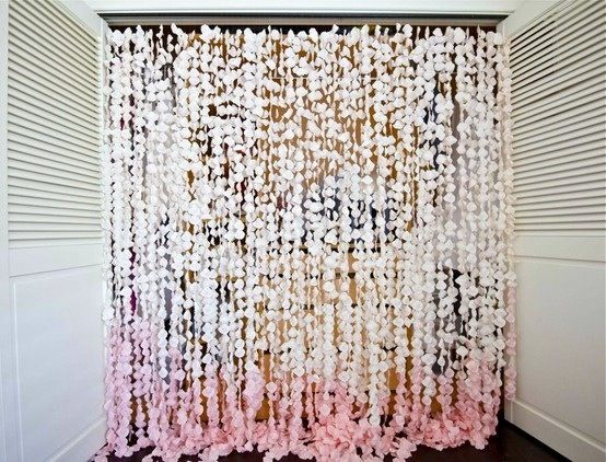 Ombre Flower Curtain Wedding Ceremony Backdrop Fake Rose Petals