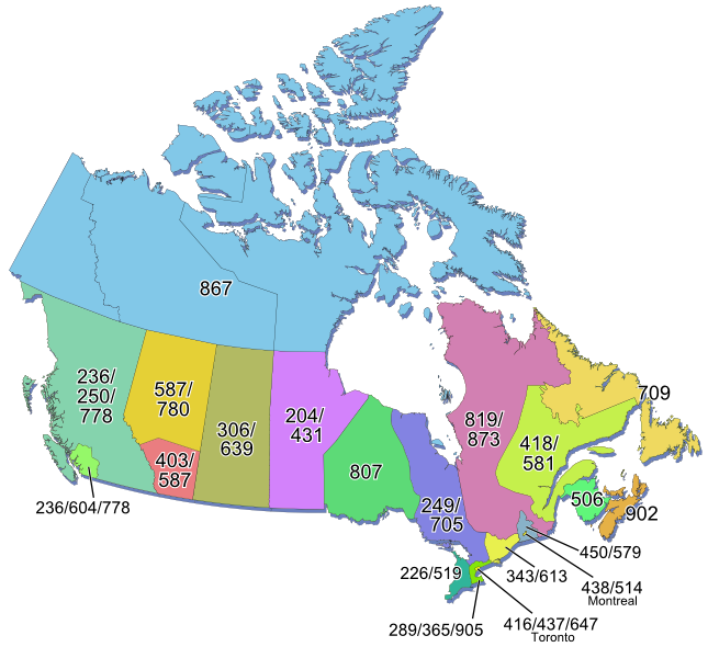 Map Of Canada With Area Codes Canadian Area Code Map | Map, Coding, Area codes