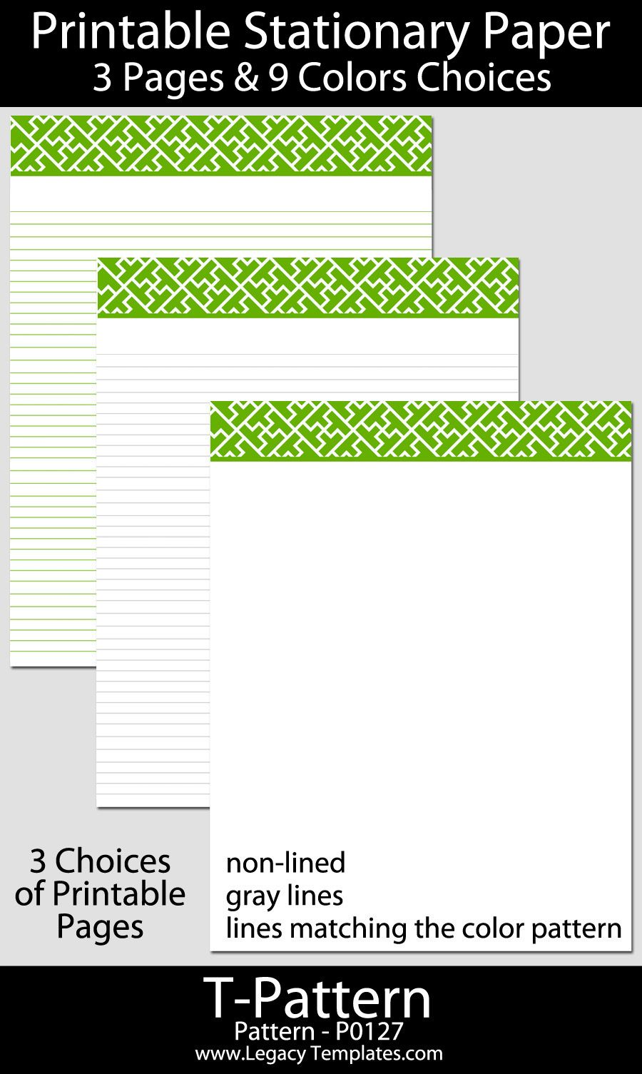 "Paper Lined Printable Stationary Paper With A ""t"" Pattern P0127  8.5""x11 ."