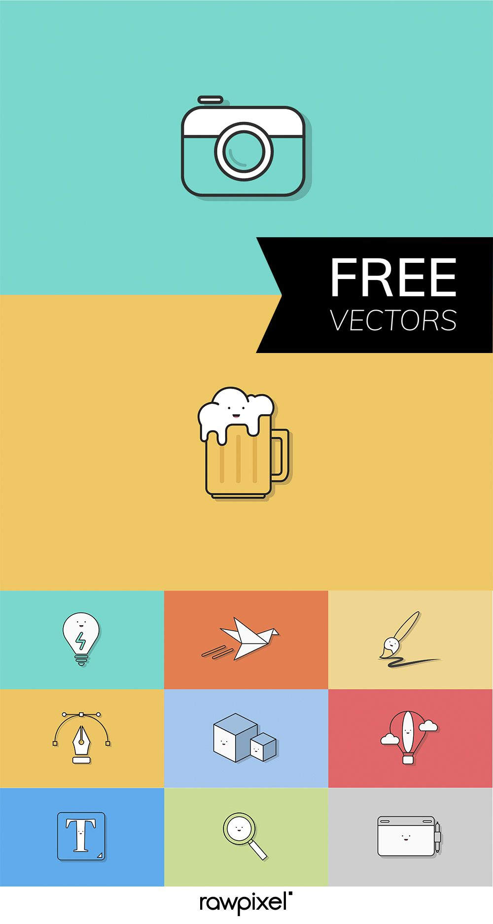 Download Free Vectors Of Cute Minimal Icons By Rawpixel S Artist
