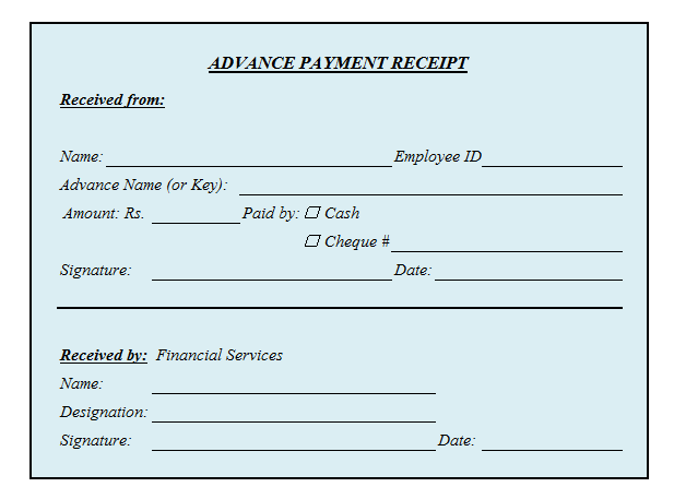 Advance Payment Receipt Format In Excel Xls Masters In Business Administration Business Administration Advance Payment