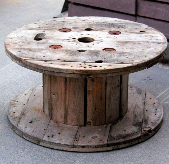 Large Wooden Textile Wire Spool Coffee Table Table Kids Play