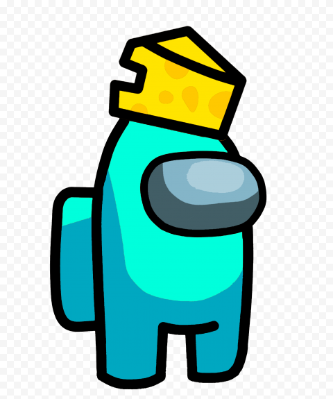 Hd Cyan Among Us Character With Cheese Hat Png Cyan Png Character