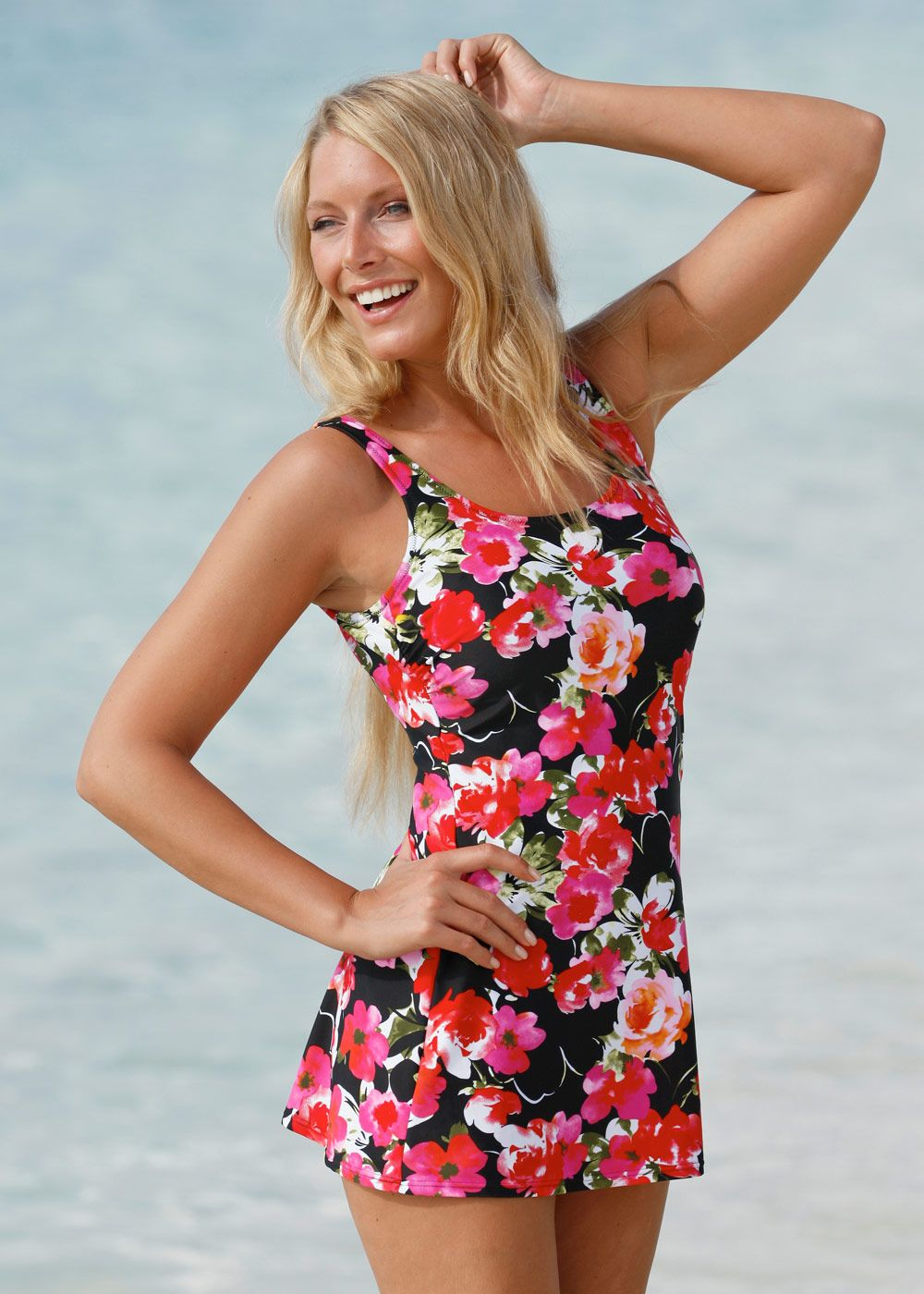 89b3b6e85a4ad Fully skirted mastectomy swimsuit that covers the tops of your legs and  bottom and looks good