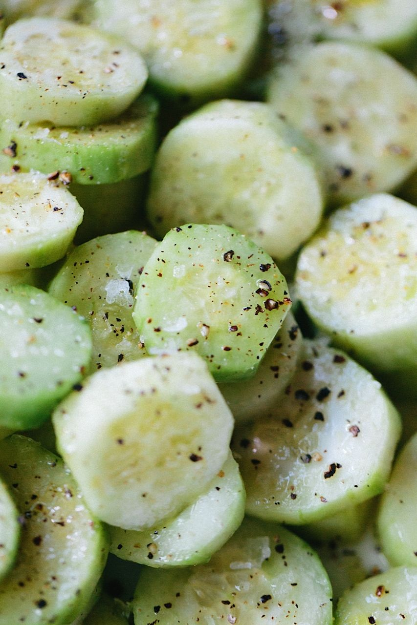 """Cetrioli"" cucumbers doused with Sicilian extra virgin olive oil, sea salt flakes, cracked black pepper"
