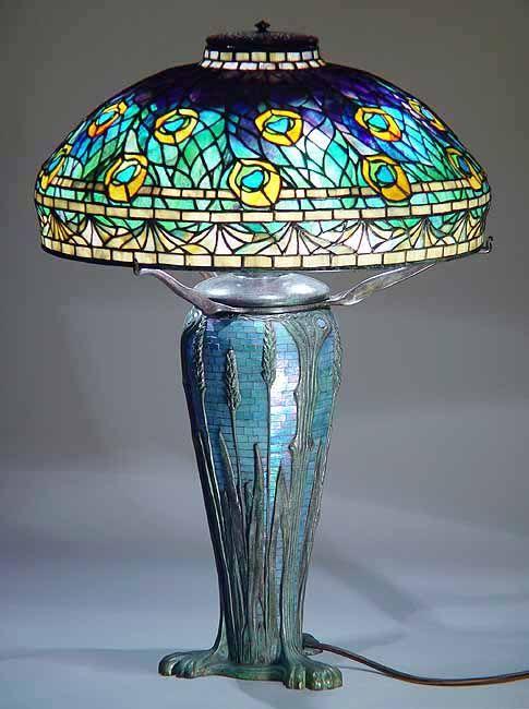 Design of  Tiffany-Studios New York    Tiffany lamp shade  PEACOCK  #1472