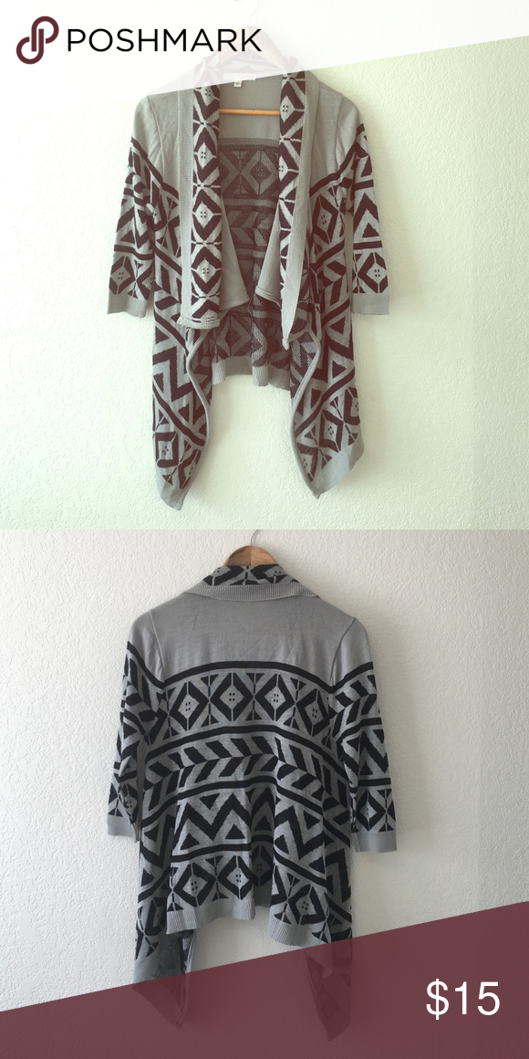Tribal print open front cardigan. Very cute, flowy, open front tribal print 3/4 sleeve cardigan. Worn less than 5 times. Great condition! Tops