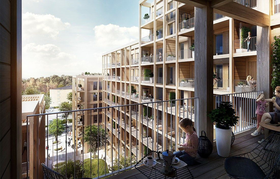 Wood For Sustainable Living The New Or City Development In Sundbyberg Sweden By Arkitema Architect Wood Magazine Multi Storey Building Architecture Exterior
