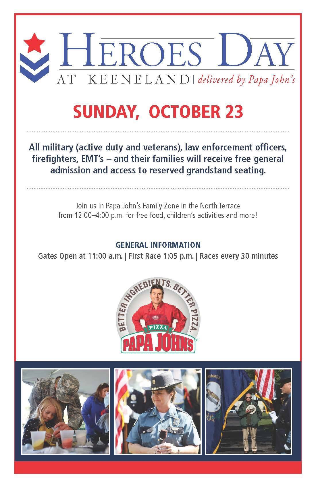 Come out to Keeneland Sunday October 23rd, for Heroes Day ...