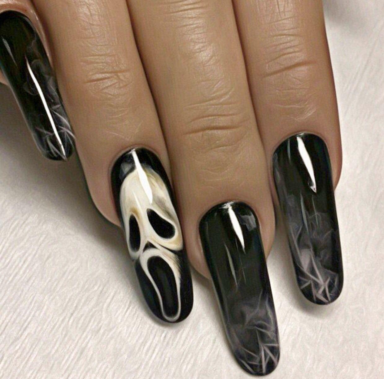 Ghost Face Black Sheer Nails Sheer Nails Horror Nails Halloween Acrylic Nails