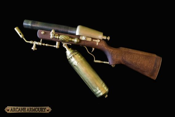 Steampunk Flame Thrower Rifle Prop Non working by ArcaneArmoury