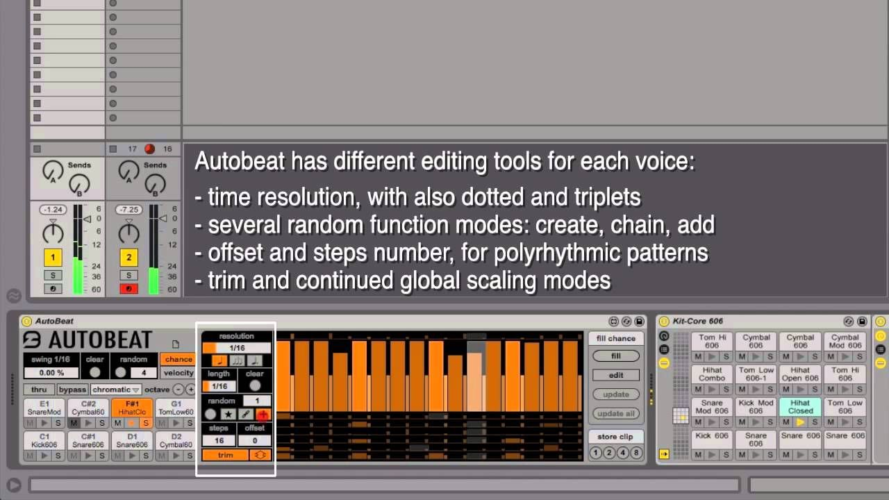 AutoBeat Overview Editing tools, Ableton, Software