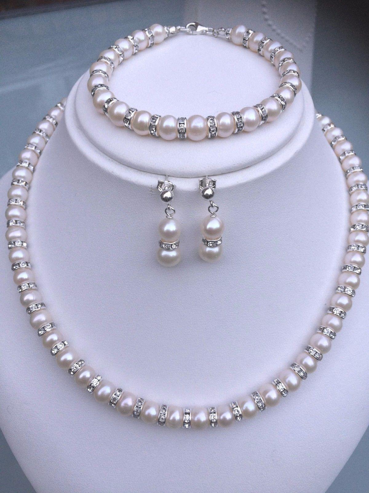 Designer wedding jewelry set freshwater pearl diamante