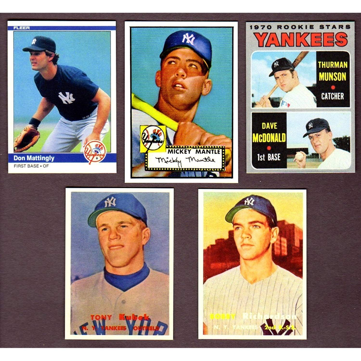 New York Yankees Topps Baseball 5 Card Reprint Rookie Lot W