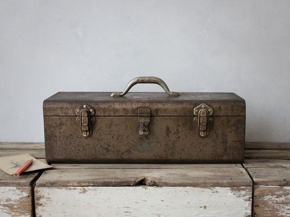 Vintage Industrial Metal Toolbox by jerseyicecreamco on Etsy, $65.00