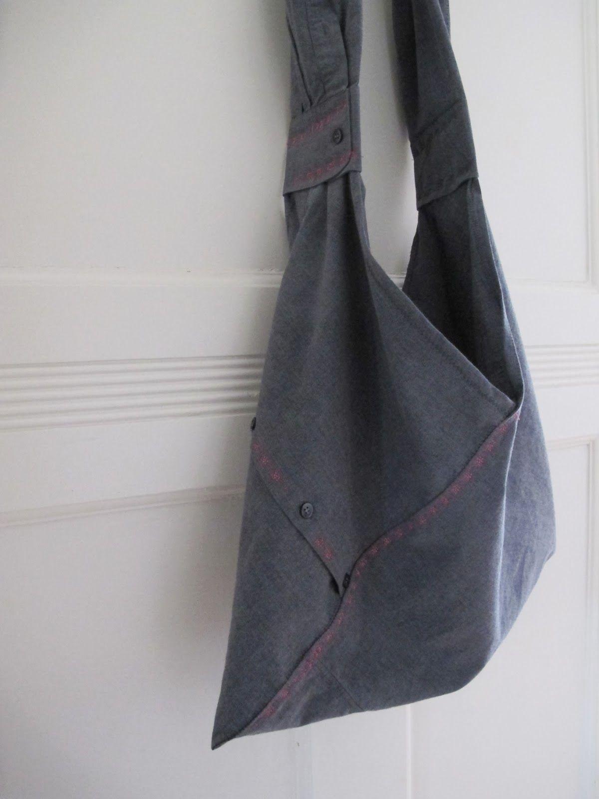 Upcycling - Origami Tasche aus altem Herrenhemd | Upcycling DIY ...