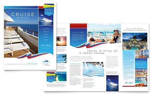 Cruise Travel Brochure Illustrator Template by @StockLayouts - pamphlet layout template