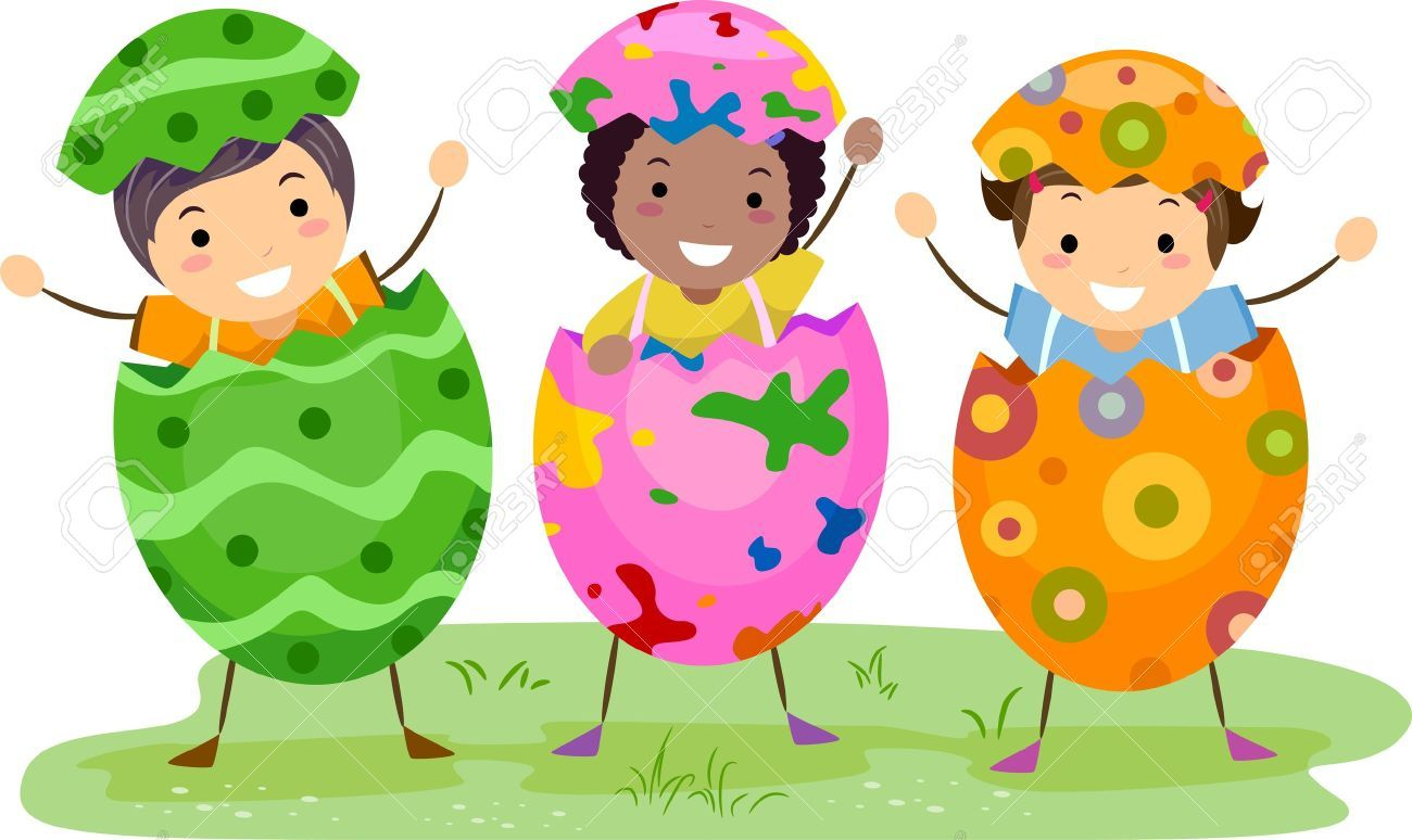 royalty free vector clip art illustration of three easter kids wearing egg shells by bnp design studio - Kids Cartoons Free