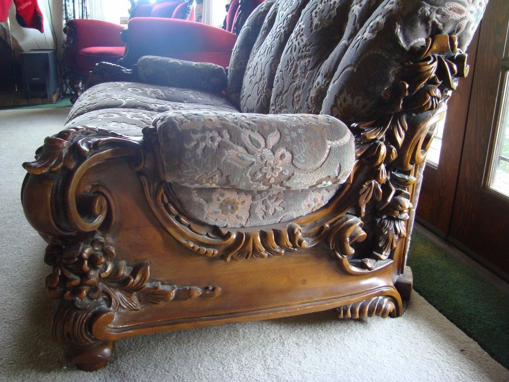 Antique french walnut rococo style heavy carved ornate