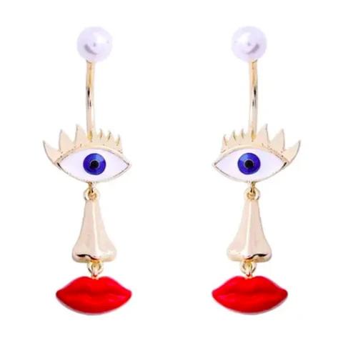 Hypoallergenic Stainless STeel Long Ear Wire Evil Eye Blue Dangle Earrings