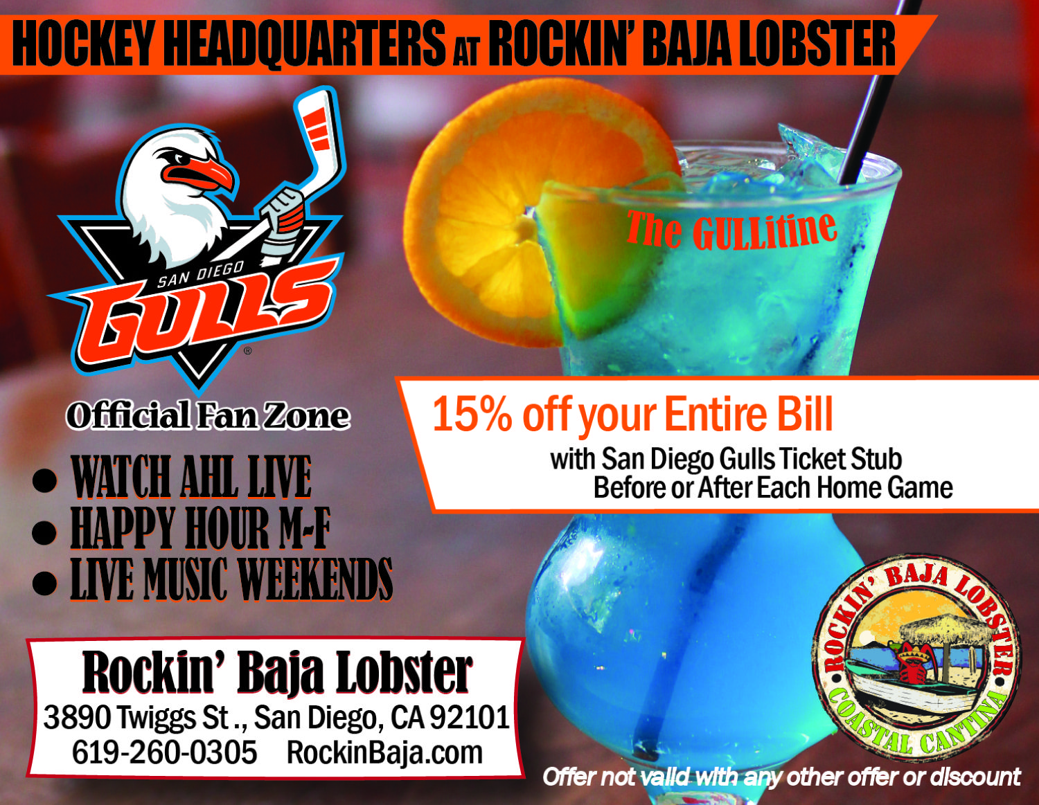 An Image from the Hockey Series to support the Rockin' Baja Lobster sponsorship of the San Diego Gulls