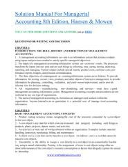Download Solution Manual For Managerial Accounting 8th Edition Hansen Mowen Pdf Managerial Accounting Solutions Manual