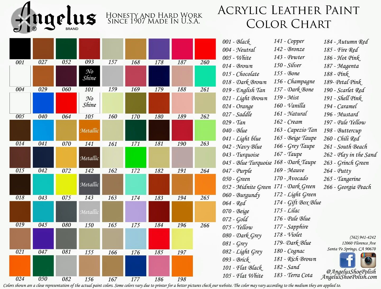 Angelus Leather Dyes Paint Color Chart Color Chart Vinyl Painted