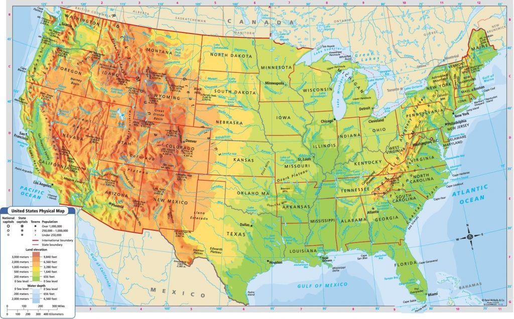 Us Mountain Ranges Map United States Physical Resources Mr Inside