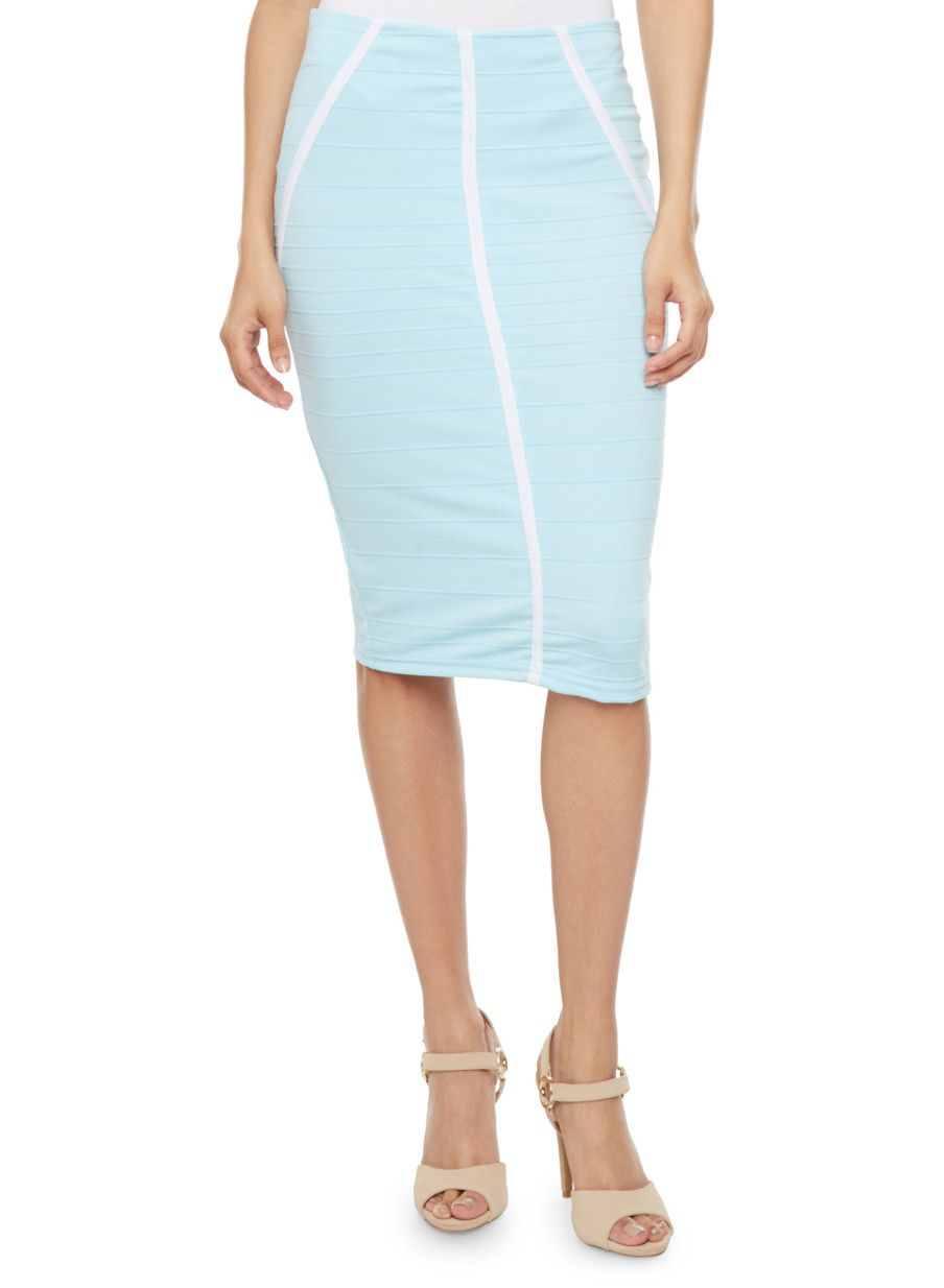 Rainbow Ribbed Pencil Skirt with Contrast Piping | This cute pencil skirt is sure to liven up your weekday wardrobe with its solid vibrant color, ribbed body-hugging fabric and front contrast piping.  Style this skirt with a scoop neck tee and pointed toe flats to rock on casual Friday.